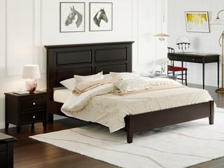 顿图系列 简美风格  胡桃色  1.8米 实木床(含实木床排骨架)