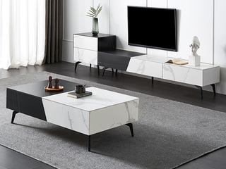 极简风格 全岩板 抑菌防刮耐磨 创意黑白两色拼接 方形茶几