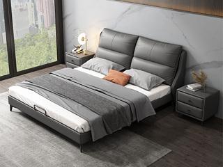 时尚简约  高弹舒适 真皮+实木框架 深灰色 1.5米双人床(搭配实木排骨架)