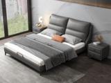 卡罗亚 时尚简约  高弹舒适 真皮+实木框架 深灰色 1.5米双人床(搭配实木排骨架)