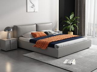 时尚简约 充盈软靠+实木框架 浅灰色 皮艺 1.5米双人床高箱床(搭配实木排骨架)