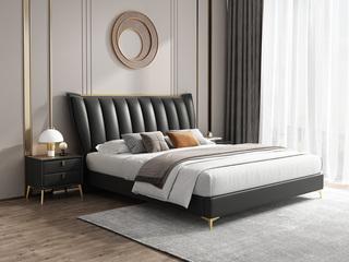 时尚简约 实木框架 深灰色 皮艺 1.8米高箱双人床(搭配实木排骨架)
