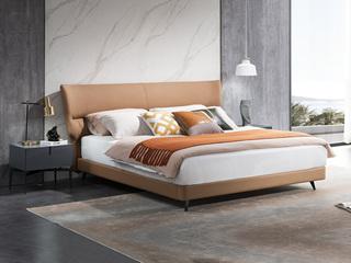 意式极简 头层黄牛皮 全实木排骨条 1.5*2.0米真皮软床