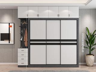 轻奢风格 经典黑白拼色推拉门 长2米 大容量3开门衣柜
