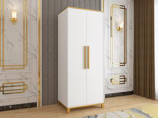 轻奢风格 米白色 镀金挂衣杆 长0.8米 2开门衣柜