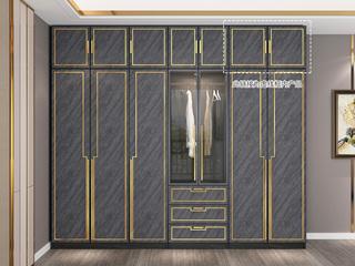 轻奢风格 质感雅黑柜体 玫瑰金轮廓线条 长0.8米 2开门顶柜