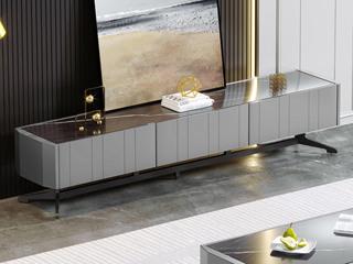 现代简约 2.0米 亮光岩板+实木抽屉 电视柜