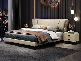 现代简约 实木框架 柔软舒适海绵 米黄色皮艺长1.9米床(搭配排骨架)