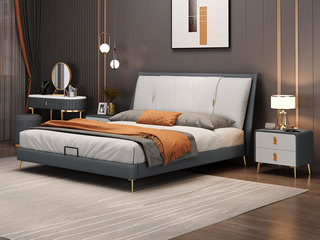 现代简约 深灰色+米白色+米白色 实木框架夹板 柔软舒适海绵 科技布1.8米床(搭配排骨架)