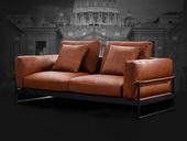 诺美帝斯 现代简约 羽绒 桔色 皮艺  双扶手3人位沙发