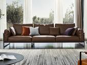 诺美帝斯 现代简约 进口头层黄牛皮 羽绒 深咖色 双扶手4人位沙发