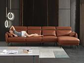 诺美帝斯 现代简约 皮艺 橘色 转角沙发(1+3+左贵妃)