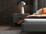 卡罗亚 极简风格 深灰色 扪皮 床头柜
