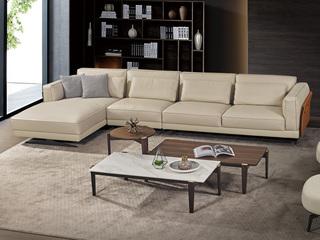 中式简约 真皮 实木 白蜡木 高弹舒适 1+3+右贵妃转角沙发