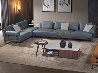 中式简约 真皮 白蜡木 实木 高弹舒适 1+3+3右妃沙发组合