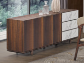 左妮丹思 中式简约 岩板台面 白蜡木 餐边柜
