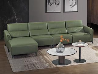 中式简约 真皮 高弹舒适 功能沙发 1+3+右贵妃转角沙发