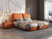 卡罗亚 极简风格  充盈软靠 实木 爱马仕橙色 皮艺 1.5米双人床