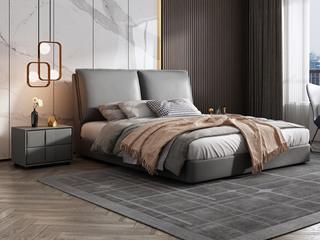 极简风格  充盈软靠 实木 中灰色 皮艺 1.8米双人床