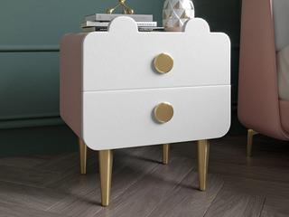 轻奢风格 全实木内架 扪皮柜体 米白色+奶油粉 床头柜