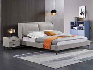 极简风格 舒适软靠 真皮+实木框架 浅灰色 1.5米 床
