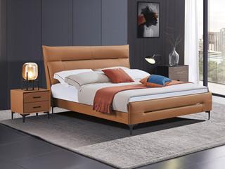 极简风格 舒适软靠 真皮+实木框架 爱马仕橙 1.8米 床