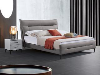 极简风格 舒适软靠 高端皮艺+实木框架 深灰色 1.8米 床