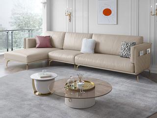 轻奢风格 科技布 全实木框架松木 鹅绒羽绒 奶咖色 1+3+右贵妃转角沙发
