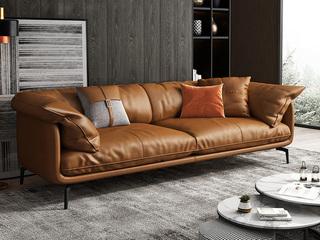 极简风格 超柔舒适 全实木框架+白鹅羽绒靠包 四人位 科技布沙发