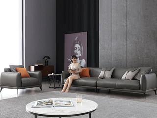 极简风格 高弹舒适 整块乳胶+全实木框架+白鹅羽绒靠包 四人位 科技布沙发