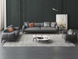 极简风格 高弹舒适 整块乳胶+全实木框架+白鹅羽绒靠包 1+2+3 仿真皮沙发