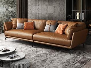 极简风格 舒适高回弹 全实木框架+充盈白鹅羽绒靠包 四人位 真皮沙发