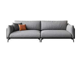 极简风格 舒适透气 意大利进口麻棉面料+全实木框架+白鹅羽绒靠包 四人位 皮布结合沙发