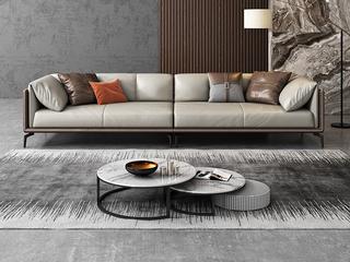 极简风格 高弹舒适 全实木框架+白鹅羽绒靠包 大四人位 真皮沙发