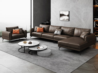 极简风格 高弹舒适 全实木框架+白鹅羽绒靠包 1+3+左贵妃 真皮沙发