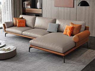 极简风格 高弹舒适 全实木框架+白鹅羽绒靠包 3+左贵妃 真皮沙发