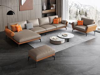 极简风格 高弹舒适 全实木框架+白鹅羽绒靠包 1+3+右贵妃 真皮沙发