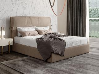 现代简约  优质布艺 4A级羽绒软包  实木框架 卡其色 卧室1.5米床