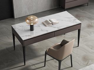 极简风格 防刮耐磨岩板桌面 双抽大容量储物 长1.4米书桌