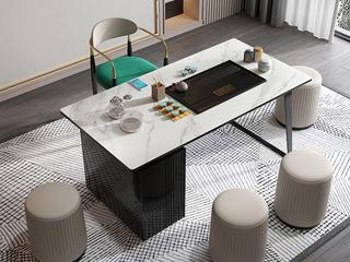 极简风格 防刮耐磨岩板桌面 多功能储物柜 健康环保 长1.4米茶台