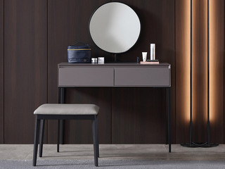 极简风格 双抽式大容量实木储物抽屉 高弹舒适 妆台+妆镜+妆凳 实用一体式长1米妆台组合