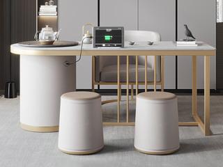 轻奢风格 防刮耐磨 岩板台面  环保实用 长1.8米茶台+1个茶椅+2个圆凳茶台组合