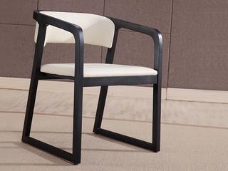 极简风格 实木框架 皮艺 白色 书椅