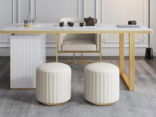 轻奢风格 环保皮艺 高弹舒适 米白色 茶凳圆凳