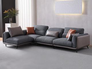 现代简约 科技布 弹簧开网 坐感舒适 浅灰+深灰 3.38米 组合沙发