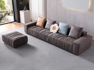 现代简约  触感舒适  磨砂科技布 防刮耐磨 时尚咖啡色 2+2+脚踏沙发组合 长3米