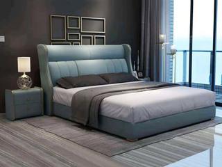 简美风格 全实木床边 布艺 舒适睡感 多功能储物实木高箱床 卧室1.8米双人床(图片为排骨架床)