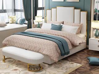 简美风格 真皮 高弹舒适  全实木床边 多功能储物实木高箱床 卧室1.8米双人床(图片为排骨架床)