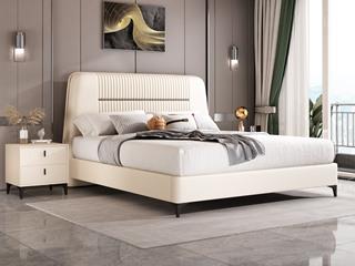 简美风格 全实木床边 布艺 舒适睡感 香槟金 多功能储物实木高箱床 卧室1.8米双人床(图片为排骨架床)