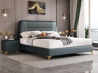 简美风格 全实木床边 皮艺 柔软舒适 墨绿色 多功能储物实木高箱床 卧室1.5米床(图片为排骨架床)